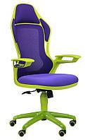 Кресло Racer сетка фиолетовая/каркас зеленый