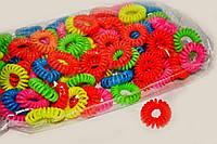 Резинки пружинки для волос цветные 100 шт.