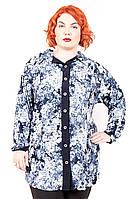 Рубашка женская большого размера Кора Цветы, одежда больших размеров, дропшиппинг украина
