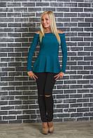 Кофта женская с баской зеленая, фото 1