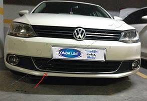 """Накладка на передний бампер VW Jetta 2011+ """"Улыбка"""""""