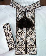 Детская вышиванка для мальчика из натуральной ткани с узором коричневого цвета