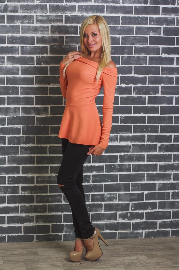 Кофта женская с баской оранж