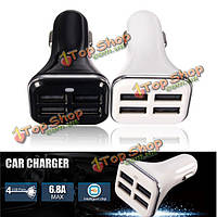 6.8a 4 порта USB автомобильное зарядное устройство для iPhone 6 Plus Галактика s6 s5 htc m9 lg зарядки