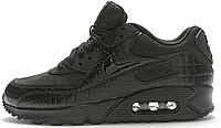 """Женские кроссовки Nike Air Max 90 Premium """"Black Croc"""" (найк аир макс 90) черные"""