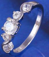 Кольцо 5 цирконов белая позолота Gold Filled (GF475) Размер 17 - ОПТ