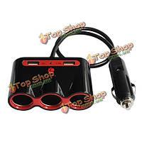 Автомобильное зарядное устройство 3 розетка с двойным USB-адаптер для iphone автомобиля камера мобильного Самсунга ноутбук 2.4а 1а