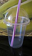 Стакан с Купольной крышкой 0,5 л пластиковый одноразовый прозрачный