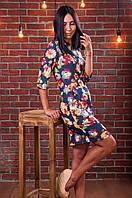 Приталенное платье-рубашка с карманами  Цветы. Размер 42!