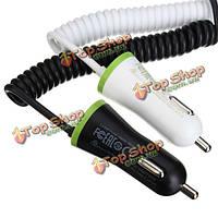 USB автомобильное зарядное устройство общая 3.4a с весны форма Micro-USB кабель освещения кабеля для мобильного телефона