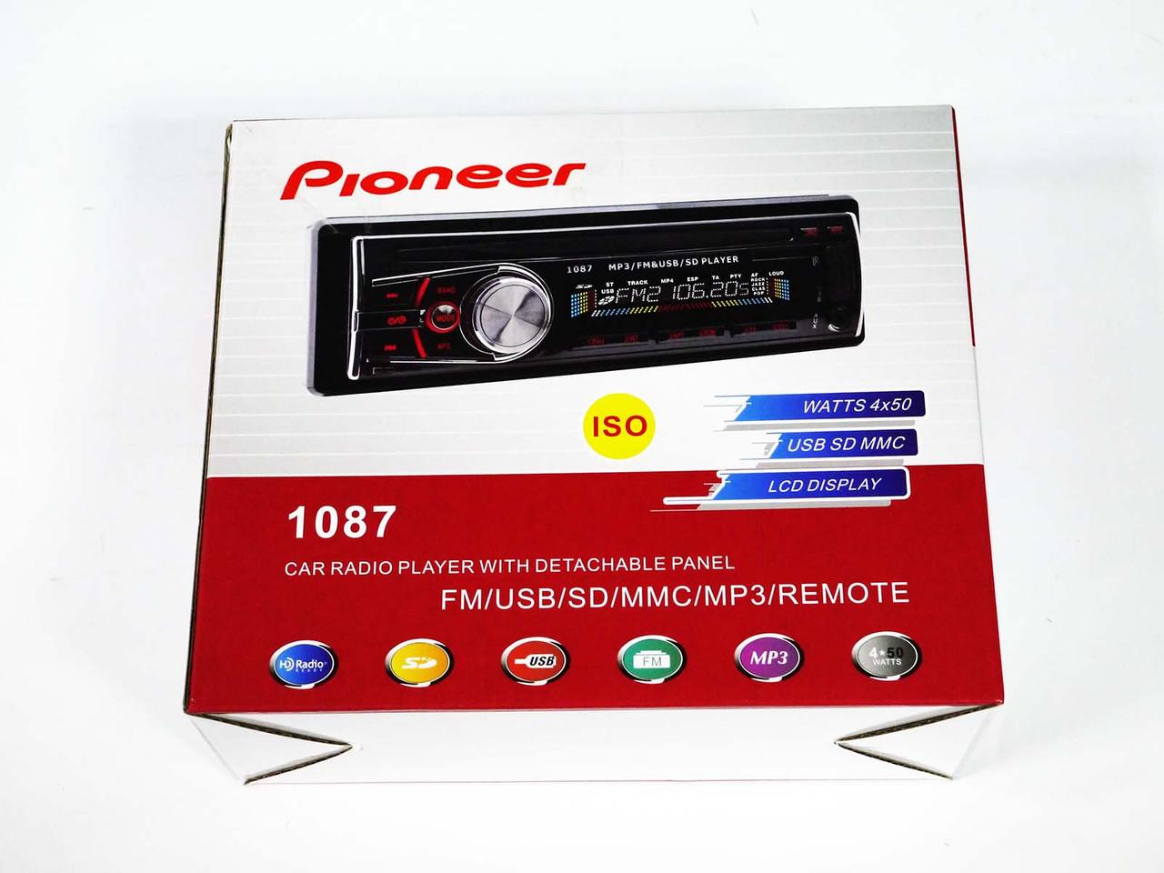 Автомагнитола Pioneer 1087 Usb+Sd+Fm+Aux+СЪЕМНАЯ ПАНЕЛЬ
