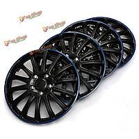 4шт универсальные 14-дюймовые синие черные колпаки колес спортивного автомобиля покрывают заглавные буквы центра