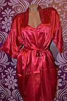 Одежда для дома, бордовый комплект- пеньюар с халатом