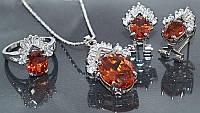 Набор: кулон на цепочке, серьги и кольцо 19 р. Цвет: серебряный. Камни: оранжевый циркон и  белые фианиты., фото 1