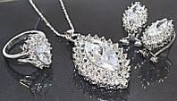 Набор: кулон на цепочке, серьги и кольцо 18 р. Цвет: серебряный. Камни: белый циркон и россыпь белых фианитов.
