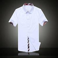 Мужская стильная рубашка  белая с коротким рукавом