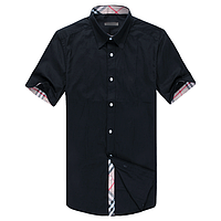 Мужская стильная рубашка  черная с коротким рукавом