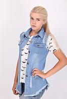 Стильная молодежная женская джинсовая жилетка