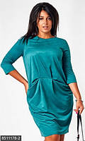 Стильное женское платье свободного фасона с боковыми карманами рукав три четверти искусственная замша батал