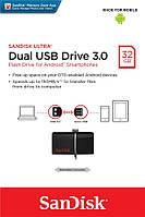 Накопитель SanDisk 32GB USB 3.0 Ultra Dual Drive OTG Black