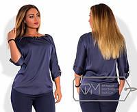 Блузка женская синяя с брошкой АК/-330