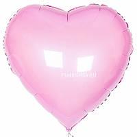 Фольгированное сердце без рисунка, розовое
