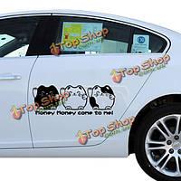 Симпатичные повезло кошка автомобильные наклейки смешные DIY персонализированные прекрасный