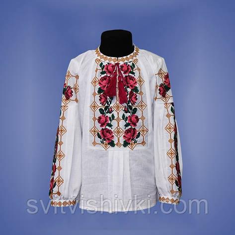 Необыкновенная вышитая блуза для девочки на домотканом полотне, фото 2