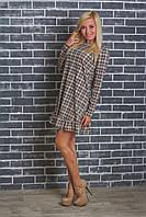 Женское платье в клетку беж, фото 1