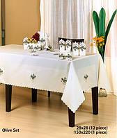 Скатерть с салфетками 150х220 KAYAOGLU Olive 12пр. кремовая