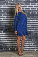 Женское платье в клетку синее, фото 1
