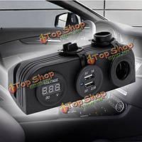 12-24 автомобильного прикуривателя + двойной разъем USB адаптер зарядное устройство + цифровой вольтметр