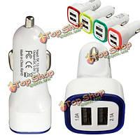 Двойной порт USB автомобильное зарядное устройство адаптер LED 2.1a 1a для смарт-телефон таблетки