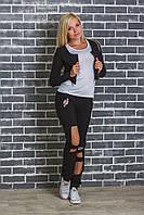 Женский спортивный костюм тройка черный