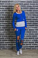 Женский спортивный костюм тройка синий, фото 1