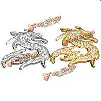 Китайский дракон стиль 3D хром металлический rhinestone кристалл мотоцикл наклейки