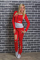Женский спортивный костюм тройка красный, фото 1