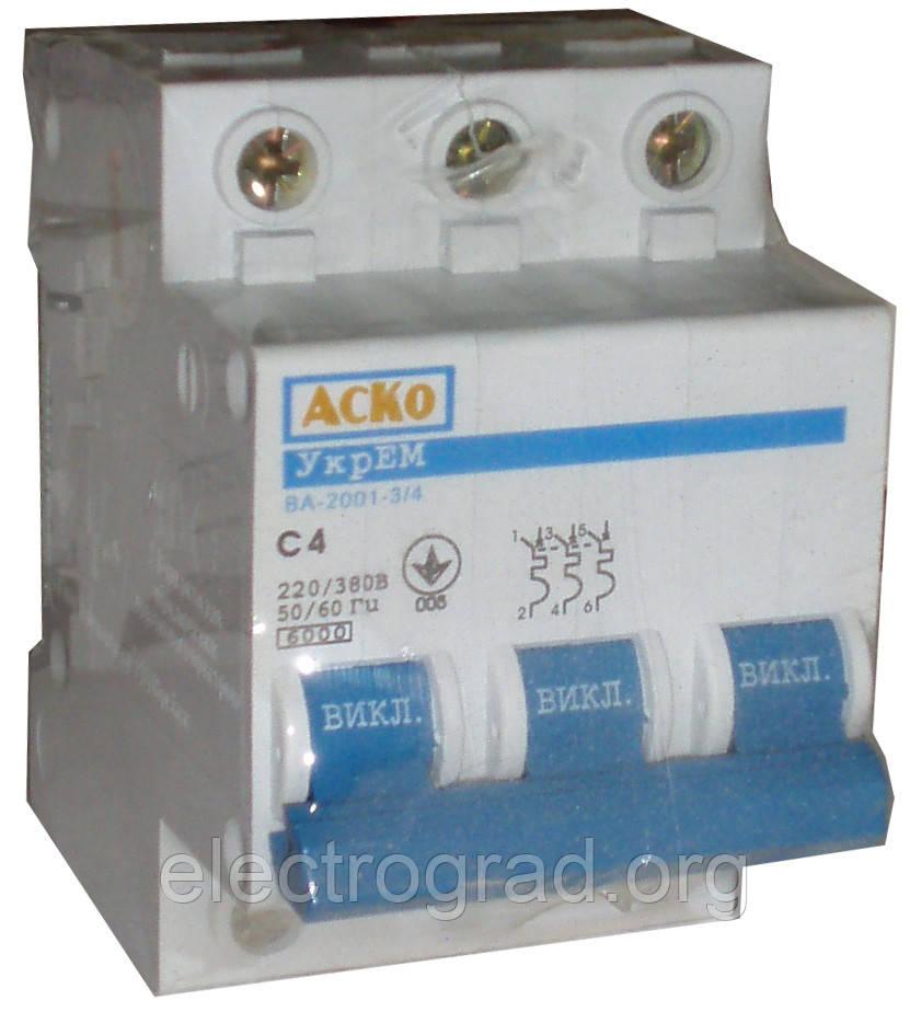 Авт.выкл. ВА-2001 3p  10А  (АСКО)