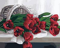 Раскрашивание по номерам Идейка Корзина с тюльпанами (KH2064) 40 х 50 см