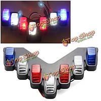 Мотоцикла 12V электромобили предупреждение красный&синий&белый LED мигающий свет