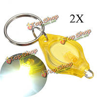 2X Mini LED Свет факела ключ брелок-фонарик для кемпинга пешие прогулки желтый