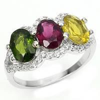 Хромдиопсид и турмалин, серебро белое золото, кольцо