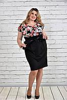 Женское Платье с черными цветами 0328-1(42-74)