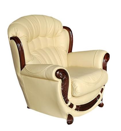 Кожаное кресло с резьбой Джозеф