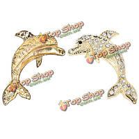 Rhinestone украшенные 3D рыба форма металла наклейки на авто золото серебро