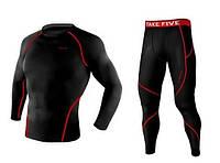 Компрессионный лонгслив и штаны Take Five с красной строчкой