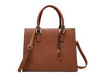 Большая вместительная женская сумка коричневого цвета