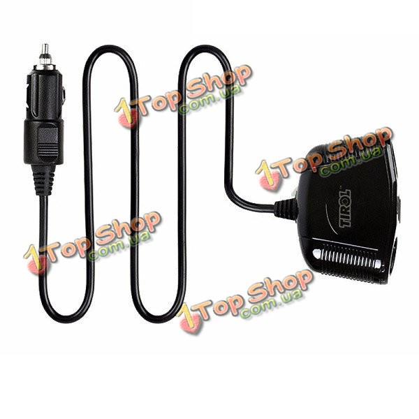 Tirol t16248 двойной USB автомобильное зарядное устройство прикуривателя 1 Spliter 2 носка для iPhone Андроид  цифровой УСТРВ