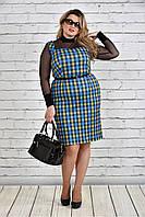 Женское Синее платье в клетку 0311-1 (комплект блуза + сарафан)(42-74)