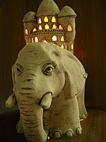 """Керамический светильник """"Слон с домом""""(авторский)"""